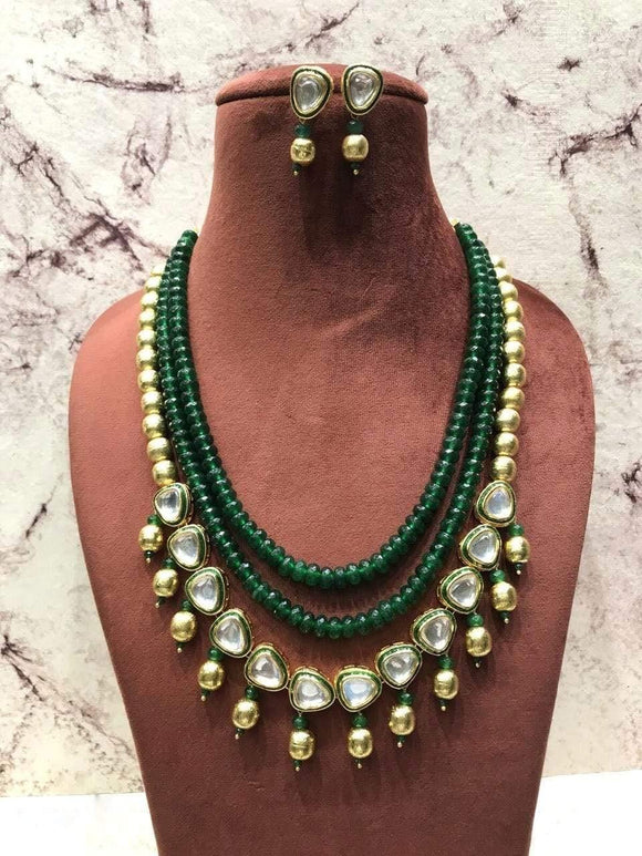 Two layers beads necklace with triangle Pendant - Ishhaara