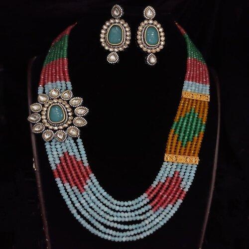 Victorian Side Patch Multi Colored Necklace - Ishhaara