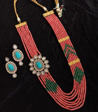 Victorian Side Patch Multi Colored Necklace