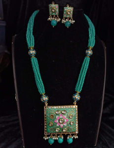 Hand Painted Square Pendant Necklace - Ishhaara