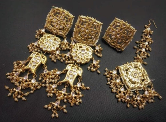 Square Earring Teeka and Ring Combo - Ishhaara