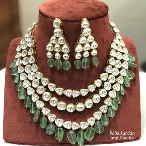 Polki Kundan With Real Fluorite Necklace