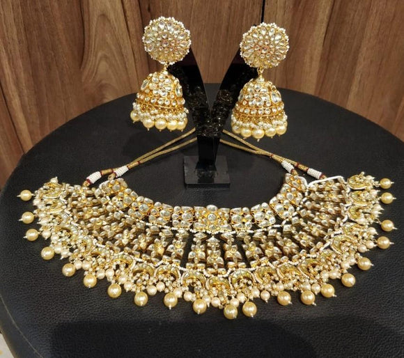 Multi Chand Bridal Necklace Set With Jumki Earring