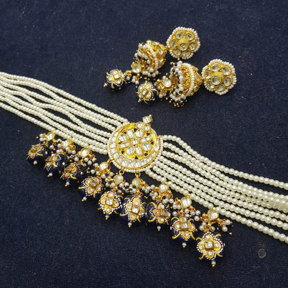 Patchi Kundan Chandbali Pearl Choker Set With Precious Beads