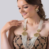 White Moti and Kundan Patch Long necklace