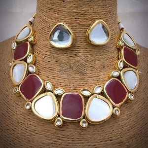 White and Red Big Kundan Necklace