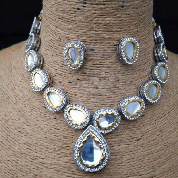 Oval Ad Kundan Necklace - Ishhaara