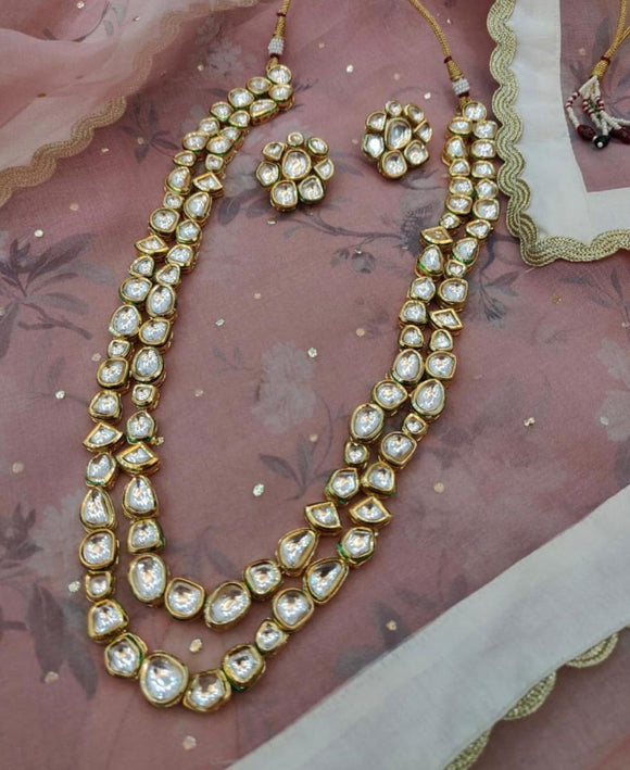 2 Layered Abstract Kundan Necklace - Ishhaara