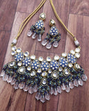 Blue Meena Kundan Jadau Necklace Set