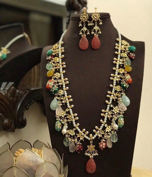 Multi Stone Long Necklace
