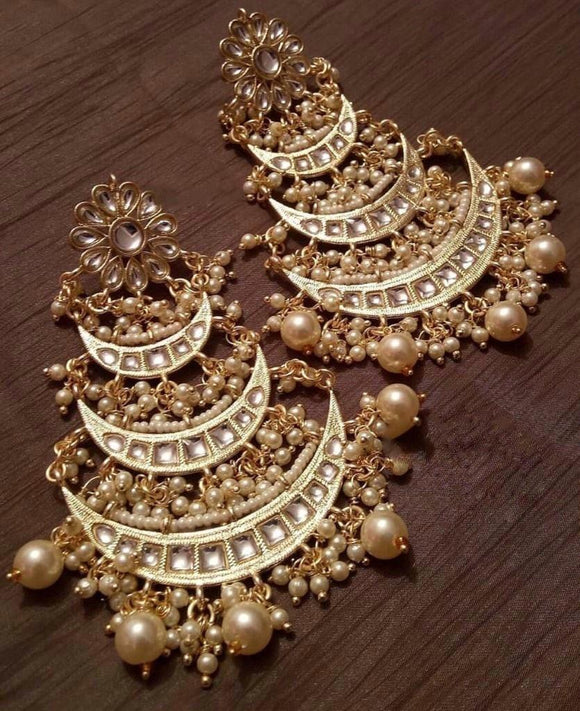 Multi Layered Chandbali With Pearl Line