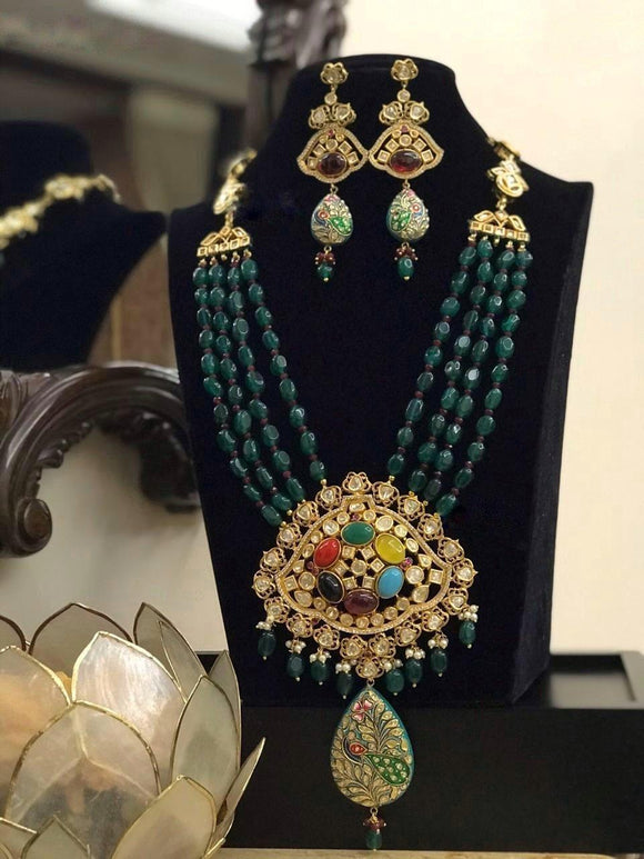 Navratna Pendant Beaded Long Necklace