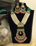 Moti Long Meena Pendant Necklace