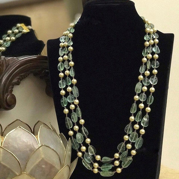 Pearls And Fluoride Necklace