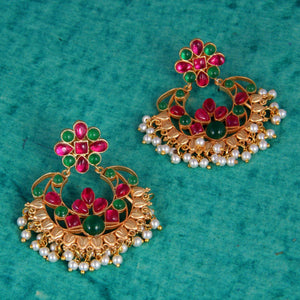 Red & Green Chandbali With Pearls - Ishhaara