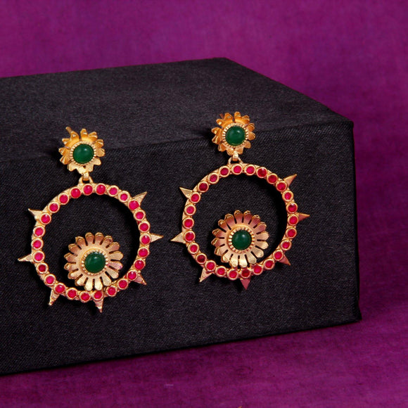 Red & Green Round Shape Spike Earring - Ishhaara