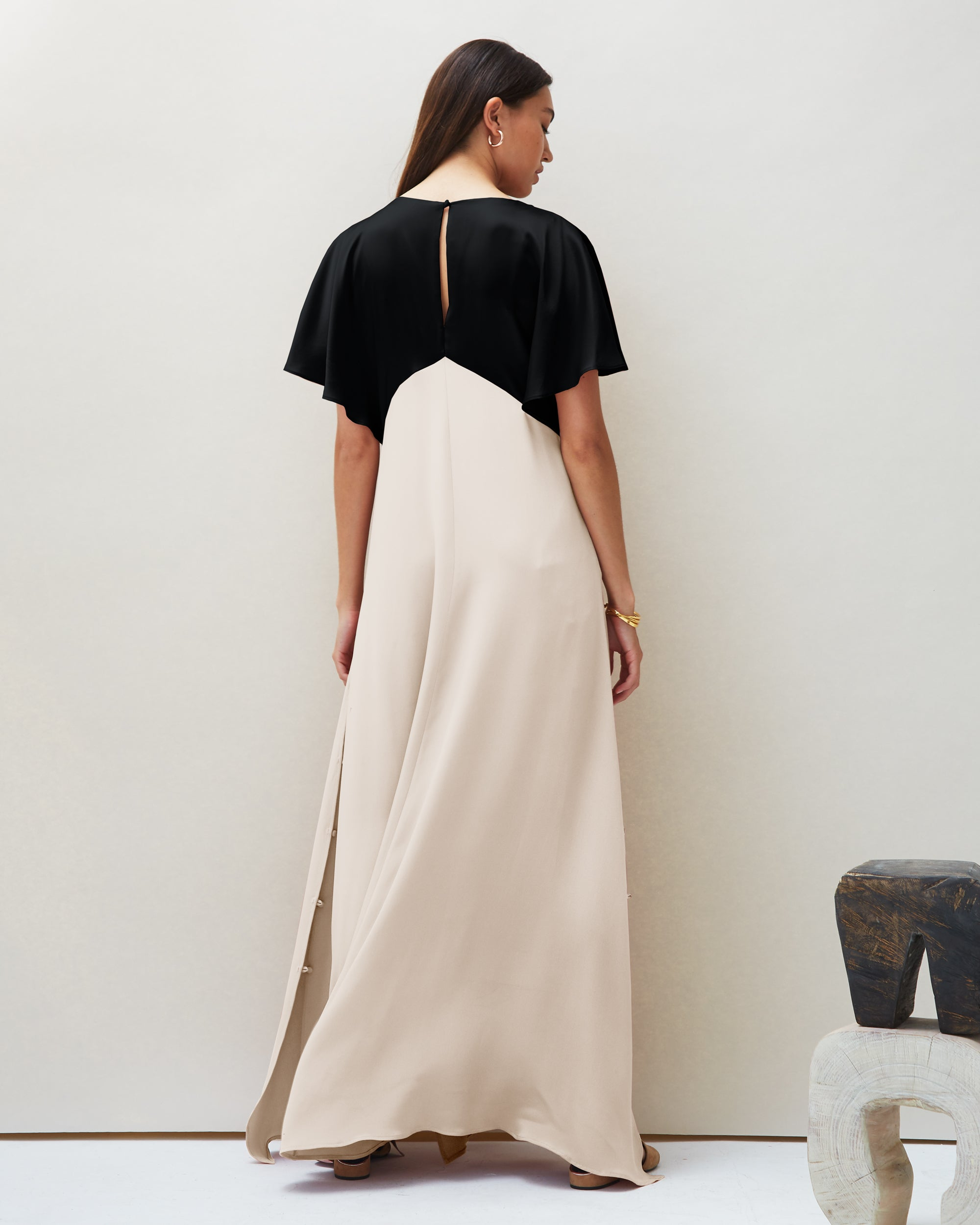 Seta Gown in Black & Ivory | Made-to-order