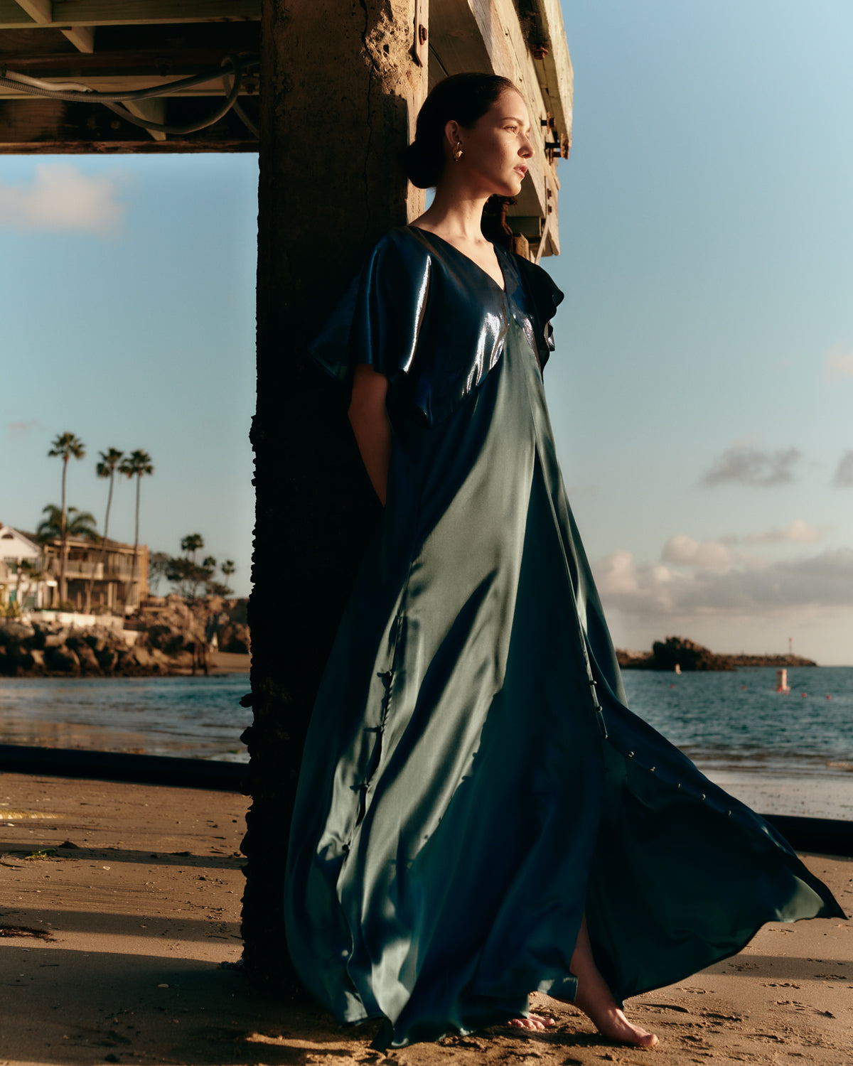 Seta Gown in Metallic Teal | Made-to-order