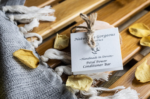Petal power solid conditioner bar, with rose and geranium natural essential oils
