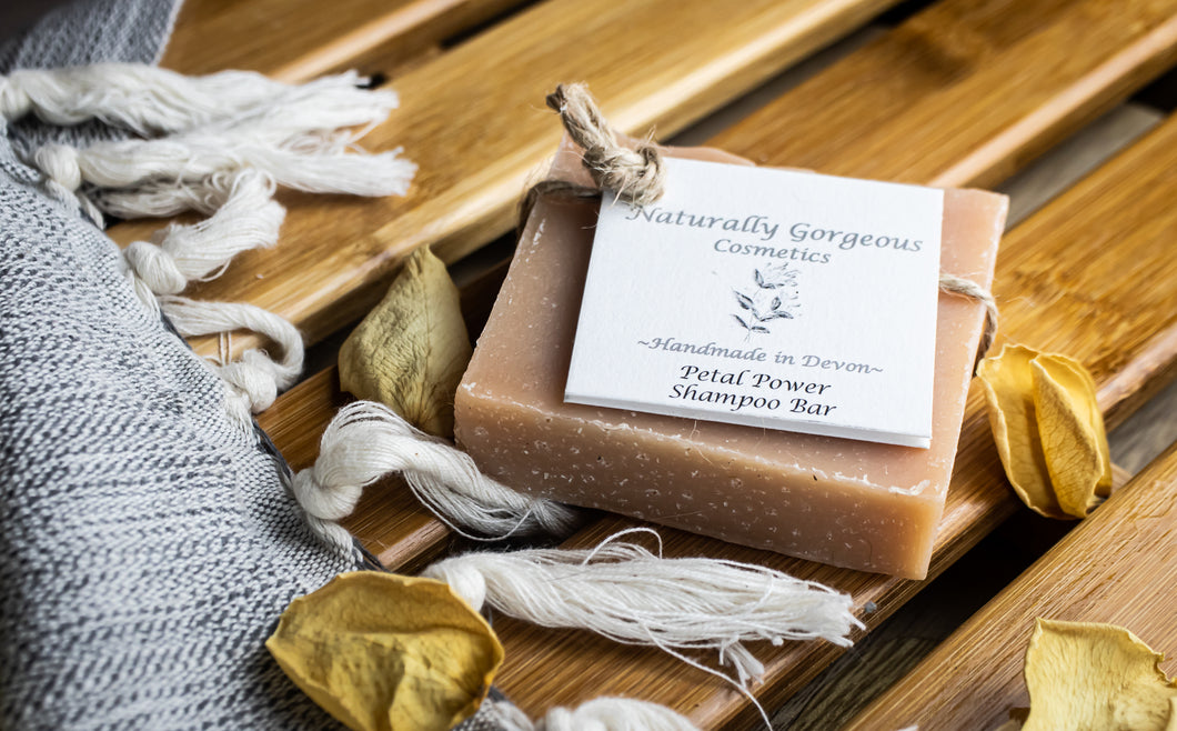 Petal power solid shampoo bar, with rose and geranium essential oils, and pink clay 100g