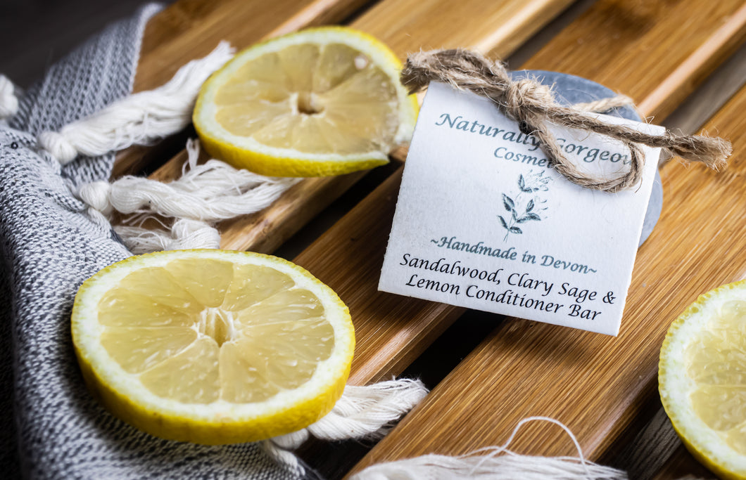 Sandalwood, clary sage and lemon solid conditioner bar