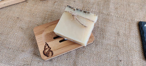 Bamboo soap dish with hand drawn pyrography design