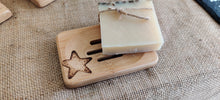 Load image into Gallery viewer, Bamboo soap dish with hand drawn pyrography design