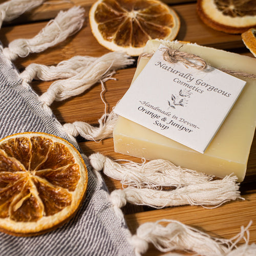 Sweet orange and juniper hand made soap bar 100g
