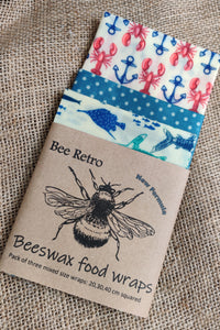 Bee Retro Beeswax Wraps 3 pack mixed size lobster and fish print