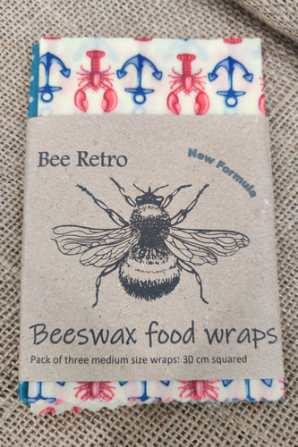 Bee Retro Beeswax Wraps 3 pack medium lobsters and fish