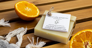 Patchouli Scrumptious, sweet orange and patchouli hand made soap bar 100g