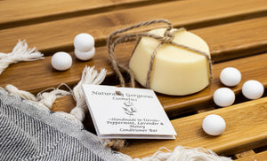 Peppermint, lavender and honey solid conditioner bar, with natural essential oils
