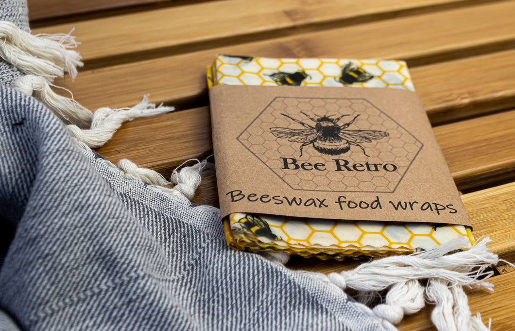 Bee Retro Beeswax Wraps 3 pack medium bees & honeycomb