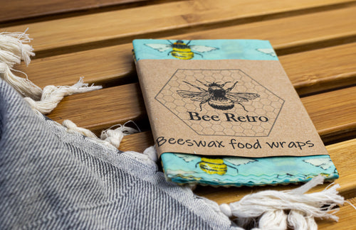 Bee Retro Beeswax Wraps 3 pack medium bees