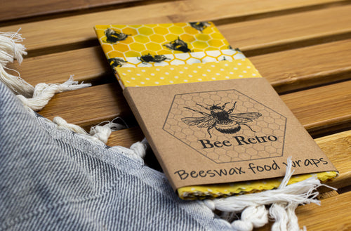 Bee Retro Beeswax Wraps 3 pack mixed size bees & honeycomb