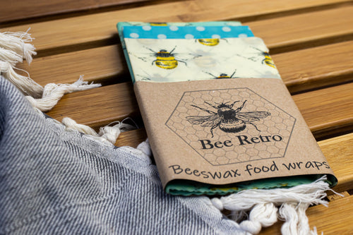 Bee Retro Beeswax Wraps 3 pack mixed size bees
