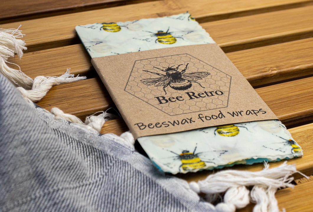 Bee Retro Beeswax Wraps 3 pack small bees
