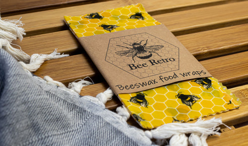 Bee Retro Beeswax Wraps 3 pack small bees & honeycomb