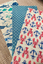 Load image into Gallery viewer, Bee Retro Beeswax Wraps 3 pack small lobsters and fish