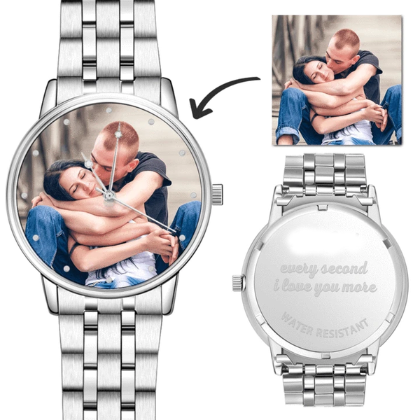 Watch Gift For Him - Engraved Men's Silver Alloy Bracelet Photo Watch 40mm