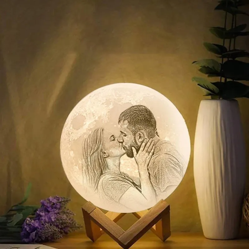 UK Fast Delivery - Moon Lamp 3D Printing Photo & Engraved Words-Touch2 Colors(10-20cm)