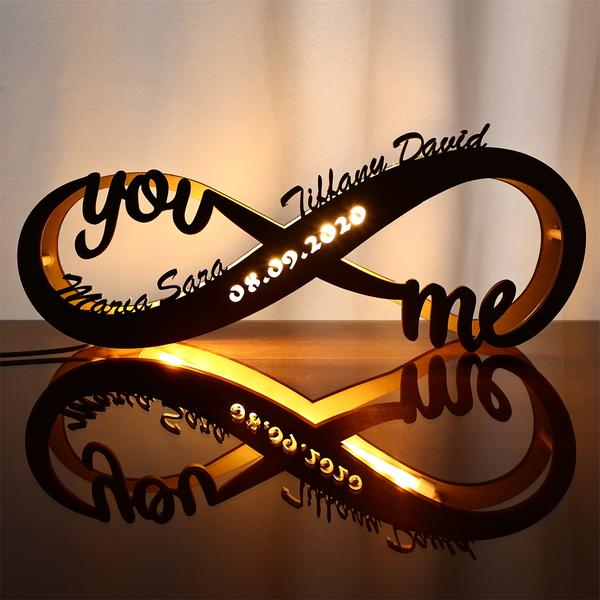 Infinity Symbol Engraved Wood Nightlight Custom Couples Names