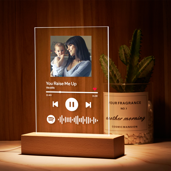 Best Seller Custom Spotify Code Music Plaque Glass Lamp-Gift For Mother(5.9in x 7.7in)