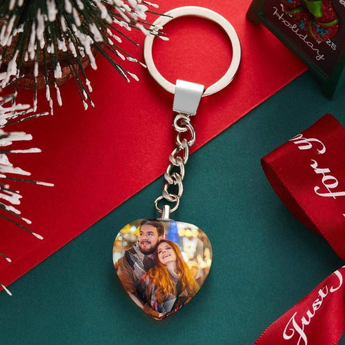 Custom Heart Crystal Keychain Gift for Him