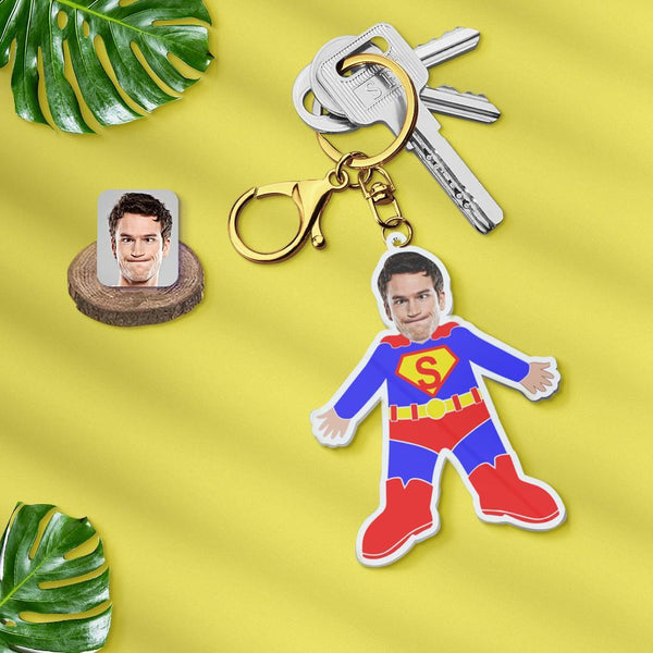 Acrylic My Face Keychain Custom Keychain Face Body Keychain Personalized Photo Keychain Gift - Superman