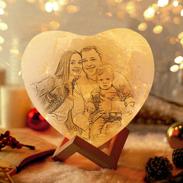 Photo Heart Moon Lamp Personalized Night Light Gifts for Her - Touch 3 Colors (12-15cm)