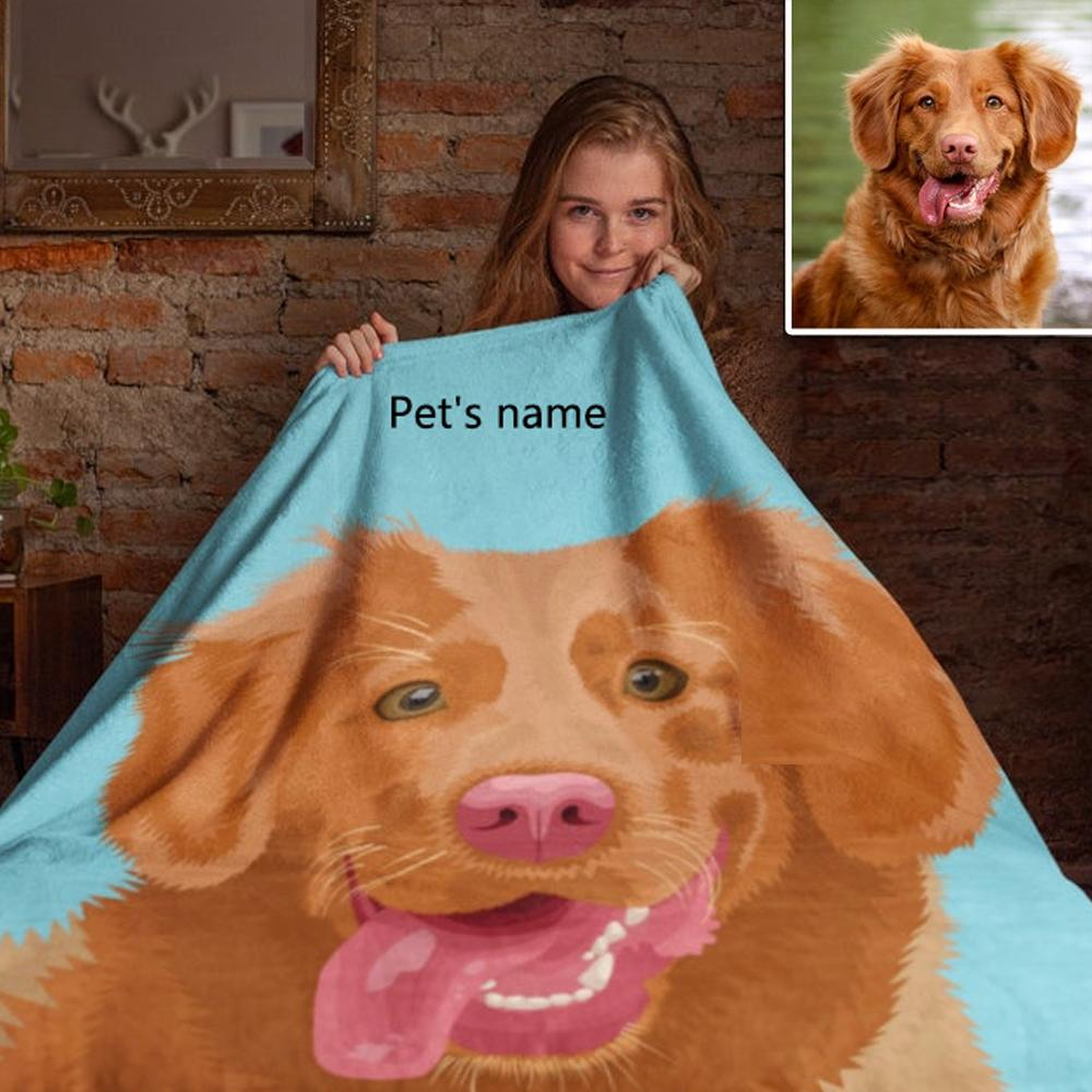 Personalised Dog Blankets Custom Pet Fleece Blanket Painted Art With Your Pet's Name