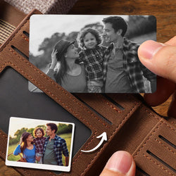 Custom Photo Wallet Insert Card Black