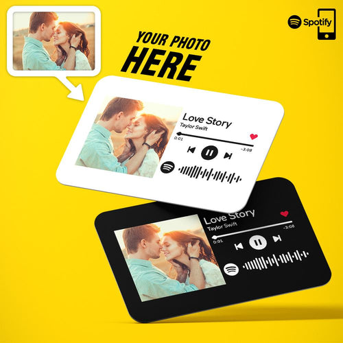 Custom Spotify Code Plaque Photo Wallet Insert Card | Gift For Couple