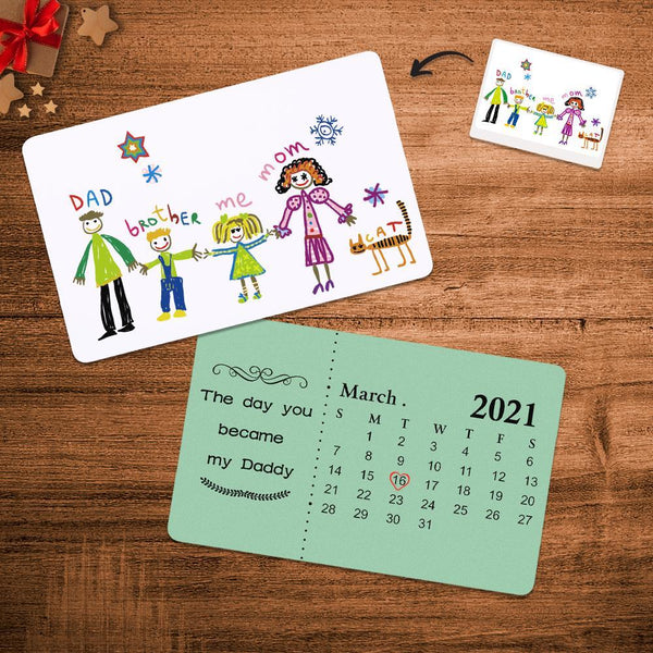 Custom Kids Drawing Photo Calendar Wallet Card – Gift For DADDY